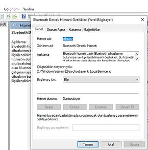 Bluetooth durduruluyor yazıyor başkada bişey yazmıyor